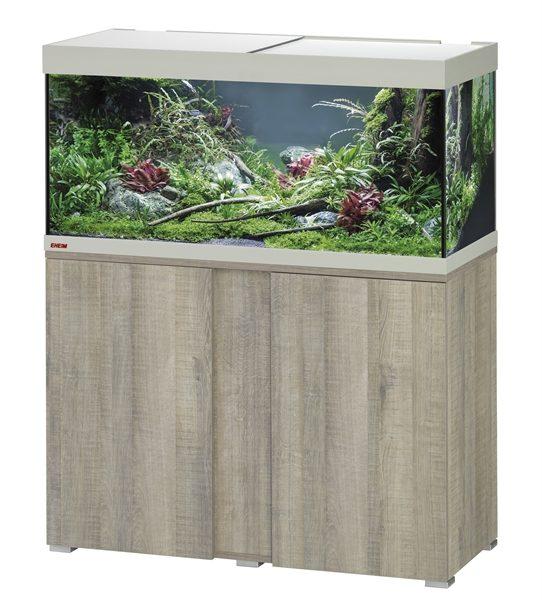 EHEIM SET VIVALINE 180 LED 101X41X119 CM GRIJS/EIKEN 17W De Eheim Vivaline Led serie kan perfect aan uw interieur worden aangepast door het feit dat het decorpaneel in het meubel verwisselbaar is. Daarmee wordt uw aquarium zo individueel als u wilt. Kleur: Grijs-Eiken, Wit, Antraciet Inhoud: ca. 180 L; Grootte aquarium: 100 x 40 x 45 cm Inclusief: 1 x 13,5 W Classic Led Day 1x Eheim Binnenflter Biopower 200 (2412); 1x Jäger verwarmer 150 W Alleen als set verkrijgbaar; Grootte set: 101 x 41 x 119 cm